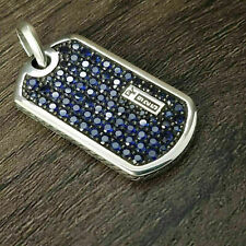 David Yurman Pave Tag Pendant with Blue Sapphires in 925 Sterling Silver