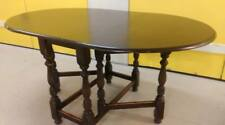 Oval dining table,solid oak,8 carved gate legs,150cm,wear & scratches,round end
