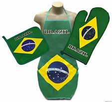 Brazil Flag Kitchen & BBQ Set *NEW* w/ Apron Oven Mitt & Pot Holder Brazilian