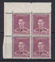 APD334) Australia 1941 KGVI perf 14.75 x 14 1½d Red-brown BW 185, marginal block