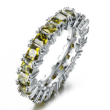 Jewelry Gift Birthstone Shiny Natural Oliver Peridot Gems Silver Ring Size 6-10