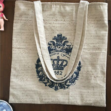 Cotton Linen Lining Eco Shopping Tote Shoulder Bag Print Vintage Crown 173212 S