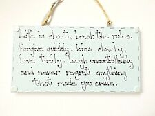 Inspirational Positive Gift Life Is Short Quote Sign Wall Plaque Home Decor