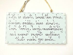 Life Inspiring Quote Sign Wall Plaque Home Decor Positive Motivational Gift Idea