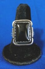 Navajo Black Onyx Sizes 9 &10 Silver Native American Collectible Ring Usa
