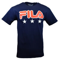 FILA Men's T-shirt S M L XL 2XL 3XL Fila Logo & 3 Stars Athletic NAVY BLUE New