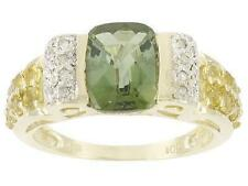 10kt yellow gold 2.75ctw cushion green and yellow tourmaline ring, size 7