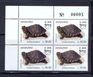 Honduras. UPAEP, new issue of 2018. Turtle (Trachemys scripta) block of 4 MNH