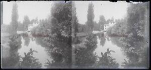 FRANCE Étang Reflets dans l'eau Photo Plaque NEGATIVE Stereo Vintage c1910