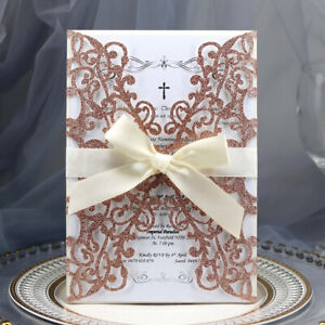 10pcs Wedding Bow Ribbon Envelope Hollow out Laser Cut Business Invitation Card