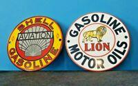 "VINTAGE SHELL GAS & LION GASOLINE PORCELAIN GAS SERVICE DOOR AD PUMP SIGN 6"""