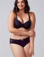 CACIQUE 18/20 NYLON NO SHOW HIPSTER PANTY with LACE, NAVY BLUE