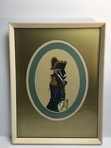 Vintage Antique Silhouette Of A Military Of Officer Mounted And Framed