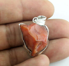 Solid 925 Sterling Silver Natural Carnelian Rough Gemstone Pendants Jewelry