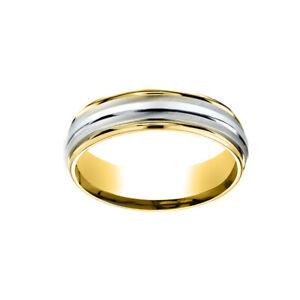 Comfort-Fit Polished Carved Wedding Men's Band Ring 14K Multi-Tone Gold 6 MM