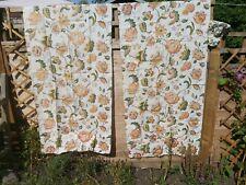 More details for antique fabric linen vintage floral original x 2 panels