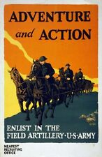 "Vintage American Recruitment Poster ""Field Artillery"""