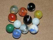 12 Vintage Colorful Glass Playing Marbles