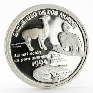 Peru 1 sol Ibero American series II Environmental Protection silver coin 1994