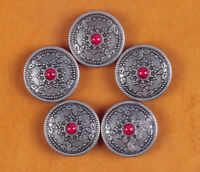 10PC 26MM RED Turquoise Sun Star Retro Silver Floral Rope Headstall Tack Conchos
