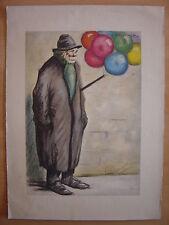 Grande lithographie de G. TOURNON Vendeur de Ballons