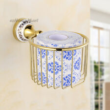 Gold Wall Toilet Paper Holder Bathroom Accessory Tissue Roll Storage Basket NEW