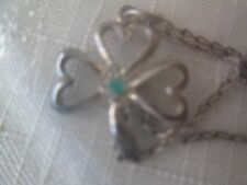 "VINTAGE AVON*STERLING SILVER SHAMROCK NECKLACE*18"" LONG/PENDANT3/4""L*SEALED*RARE"