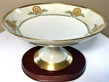 Antique 1918 Bernardaud & Co Limoges France Ivory Gold Pedestal Centerpiece Bowl