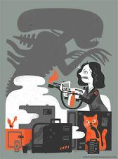 Jones Cat Alien Shadow Flame Thrower Aliens Movie Franchise Interpretive Artwork