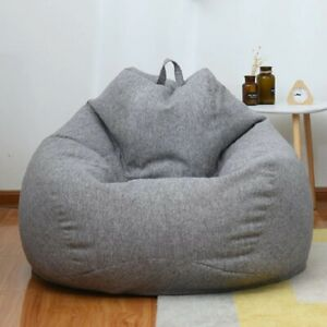 Large Lazy Sofa Cover Without Filler Comfortable Lounger Seat Bean Bag 100x120cm