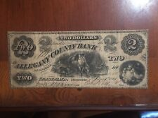 1861 $2 Allegany County Bank Cumberland, Maryland