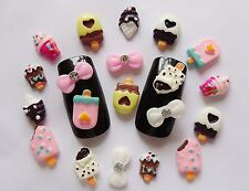 "20 pieces x ""Lollies, Ice Creams & Bows"" 3D Nail Art Kawaii Decoration Craft"