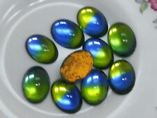 Vintage Glass Cabochons Iridis Dome 10x14mm Oval  NOS Flat Mirrored Blue #163A
