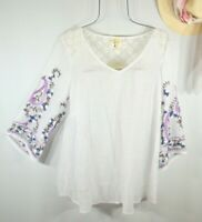 New Fig and Flower Anthropologie Women's 1X White Embroidered Shirt Top Blouse