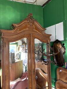 French 2 Mirror Doored Armoire Wardrobe.