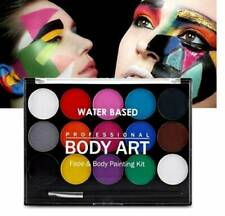 Face Paint Palette Kit 15 color Body Painting Palette Non Toxic W/ Free Brushes