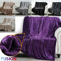 Crushed Velvet Sherpa Throw Teddy Fleece Blanket Quilt Warm Super Soft Bedding