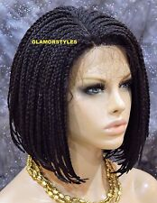 """16"""" Bob Off Black With Baby Hair Box Braided Full Lace Front Wig Hair Piece #1B"""