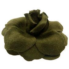 Broche Pince à cheveux bibi fleur feutrine pétale vert kaki mariage cérémonie