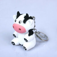 LED Little Cow Animal Keychain Keyring with Sound Mini Torch Flashlight Kids Toy