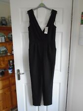BNWT £25 Black with cream floral/lacey inlay to V-neck sleeveless jumpsuit UK 12