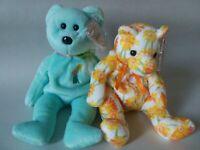 2 TY Spring Beanie Babies Baby Ariel & Shasta Bears 2000-2003 MWMT New