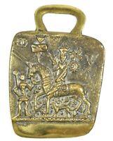 Vtg Brass Canterbury Pilgrims Token British Museum Hanging Loop Horse Tack