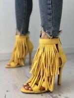 Fashion Women's Tassel High Heels Peep Toe Suede Sandals Casual Shoes US4.5-10.5