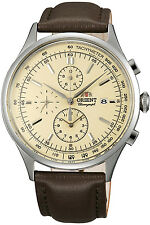 ORIENT FTT0V004Y0,Men Chronograph,New,Leather,50m WR,WITH TAG AND GIFT BOX