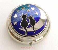 Pill Box BLACK CATS Hearts Moon Stars Sea Gems Silver Plate enamels round 40mm