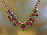 VINTAGE Sparkly Rainbow Aurora Borealis Tourmaline Pink Glass Riviere Necklace