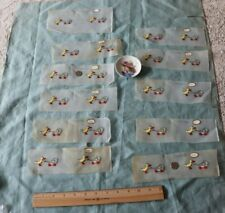 Rare 27 Swiss Antique Hand Embroidery~Children' s Birds, Ducks, Parrot Samples
