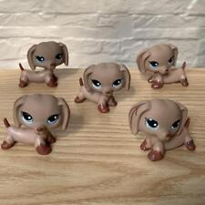 LOT 5 Littlest Pet Shop Tan Brown Dachshund Puppy DOG LPS Figure dollhouse toy