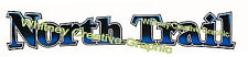 """NORTH TRAIL RV LOGO with Blue GRADIENT IN LETTERS Lettering decal 47""""x8"""""""